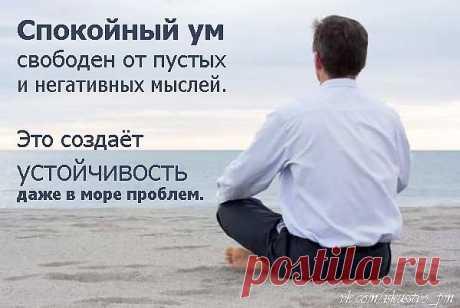 Спокойный ум свободен от пустоты и негативных мыслей. Это создаёт устойчивость даже в море проблем.