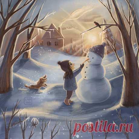 Сообщество иллюстраторов | Иллюстрация Зимние забавы.