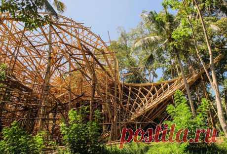 Архитектура, которая нарушает законы физики За счет своих свойств бамбук позволяет создавать почти невозможные с точки зрения здания. Даже в наше время бетона и стали, некоторые строители из теплых