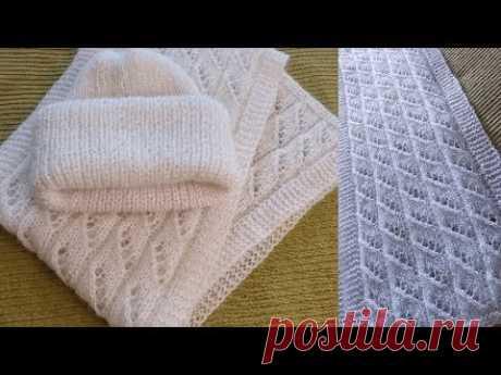 Как связать спицами шапку и шарф