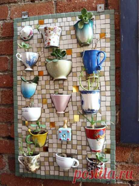 Interesting application of a mosaic in a garden