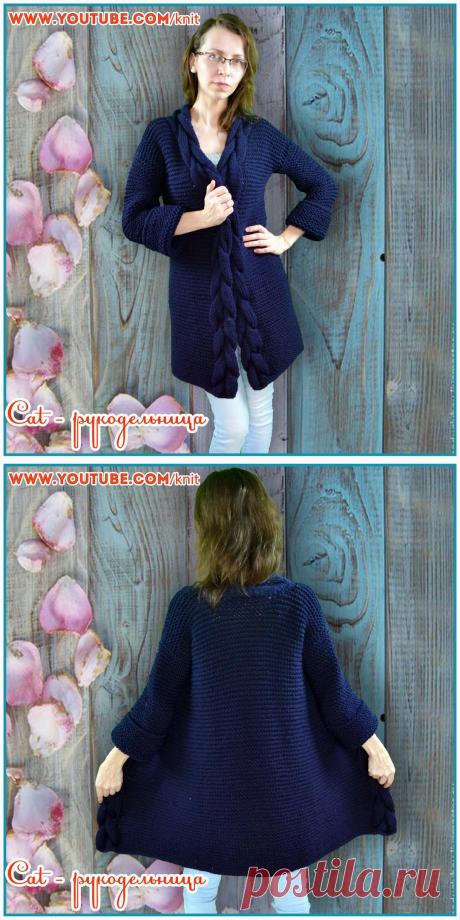 Тренд сезона - кардиган за три дня спицами платочным узором из толстой пряжи с планками - косами