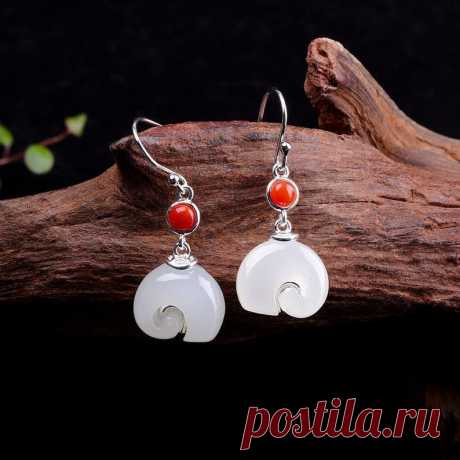 White hetian jade Elephant earrings-Mini Elephant 925 Silver | Etsy
