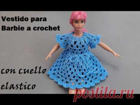Vestido para barbie con cuello elástico o resorte