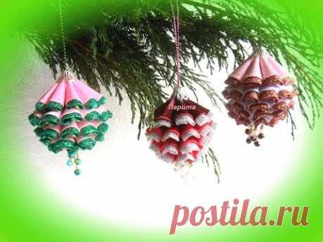 Новогодние игрушки на ёлку своими руками, ёлочные шишки канзаши, Лерита.