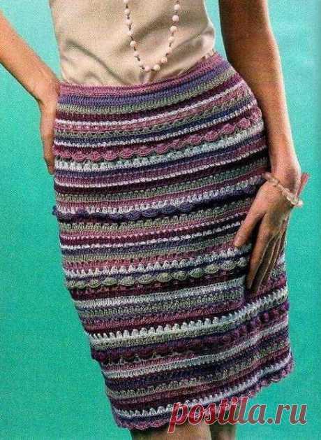 Эффектная юбка с цветными полосами крючком (схема и выкройка)   Рукоделие