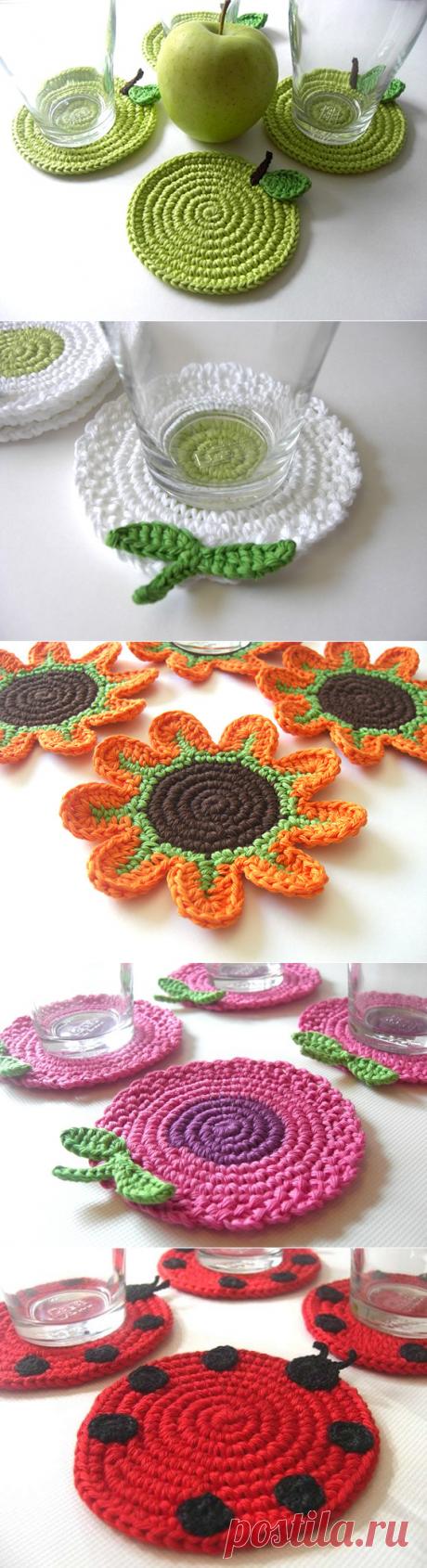 Красиво-для кухни - цветочно-фруктовые подложки крючком