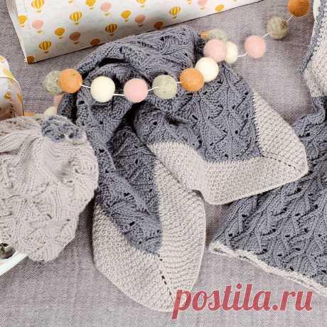 Серый плед - схема вязания спицами. Вяжем Пледы на Verena.ru