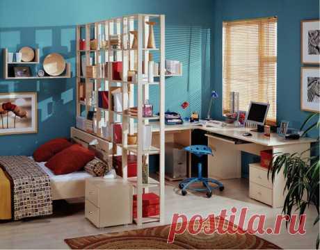 Стеллаж перегородка для комнаты: фото идеи по зонированию пространства