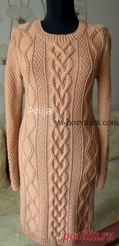 Платье с аранами вязаное спицами. Теплое вязаное платье спицами схемы