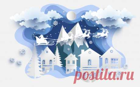 Иллюстрации домашнего бумажного искусства и Санта Клауса зимой. Дизайн бумажного искусства и ремесел