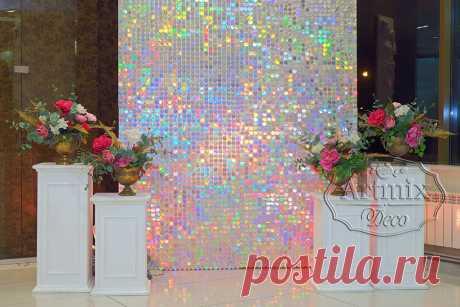 Блестящая фотозона из круглых перламутровых пайеток - Артмикс Декор