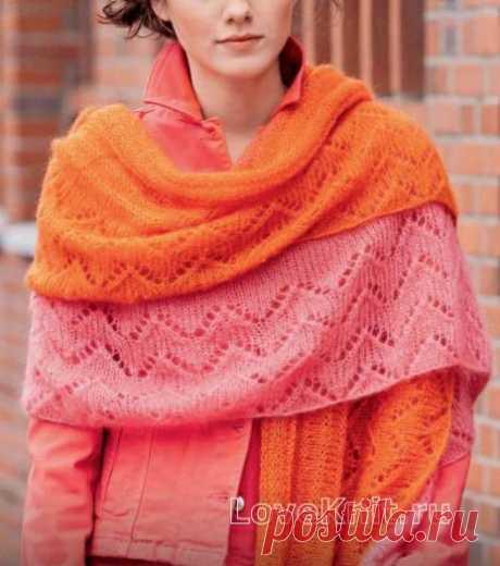 Двухслойная ажурная шаль- платок схема спицами » Люблю Вязать