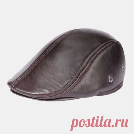 Men Genuine Leather Keep Warm Plus Thickness Cotton Windproof Ear Protection For - US$33.99