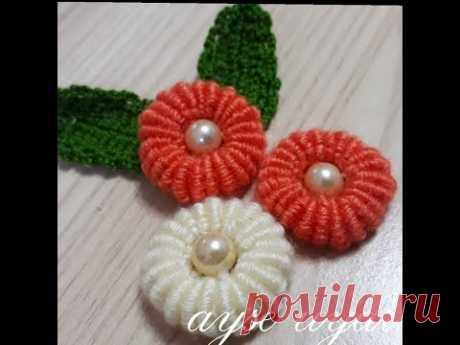 El nakışı -Rokoko Nakışı Boyutlu Çiçek Nasıl Yapılır ? (How to Make Rococo Embroidery Size Flower)