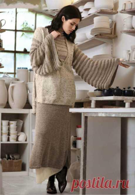 Вязаный костюм: Туника с широкими рукавами и двухслойная юбка в пол - Портал рукоделия и моды