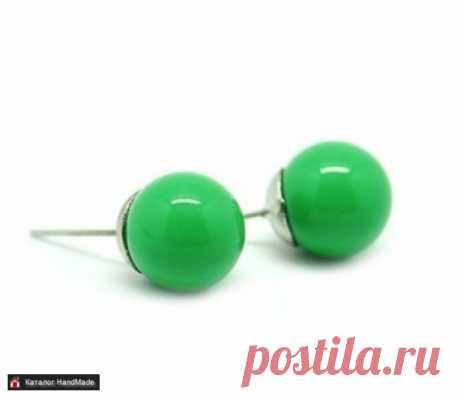 Серьги 'Бусины' (зелёные) ручной работы купить в Минске и Беларуси, цены на HandMade