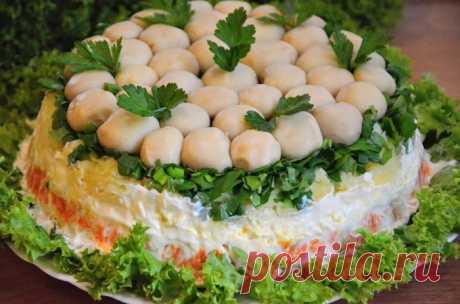 """Слоеный салат """"Грибная поляна""""     Очень вкусный слоеный салат """"Грибная поляна"""" (или """"Лесная поляна""""). Готовить салат с курицей, овощами, яйцами и сыром нетрудно. Благодаря оригинальному внешнему виду, этот салат с легкостью украси…"""