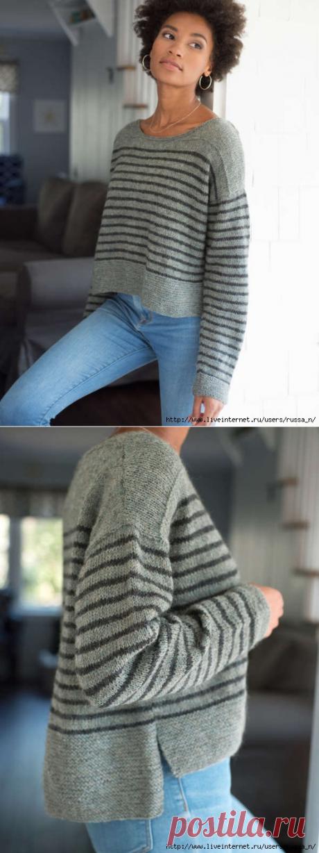 """Пуловер спицами """"PARNELL"""" от Berroco."""
