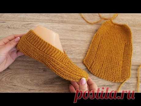 Следки спицами одним полотном «по турецки» | Easy knit slippers pattern tutorial