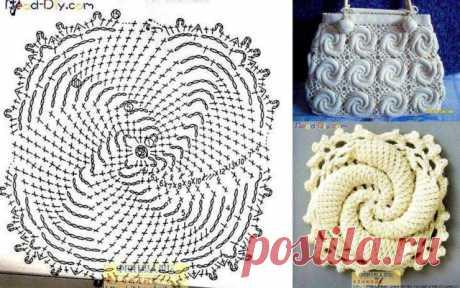 Вязаные крючком сумки и цветы со схемами.