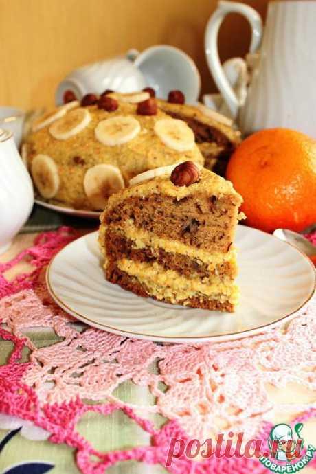 Апельсиновый торт с орехами и бананом (постный).