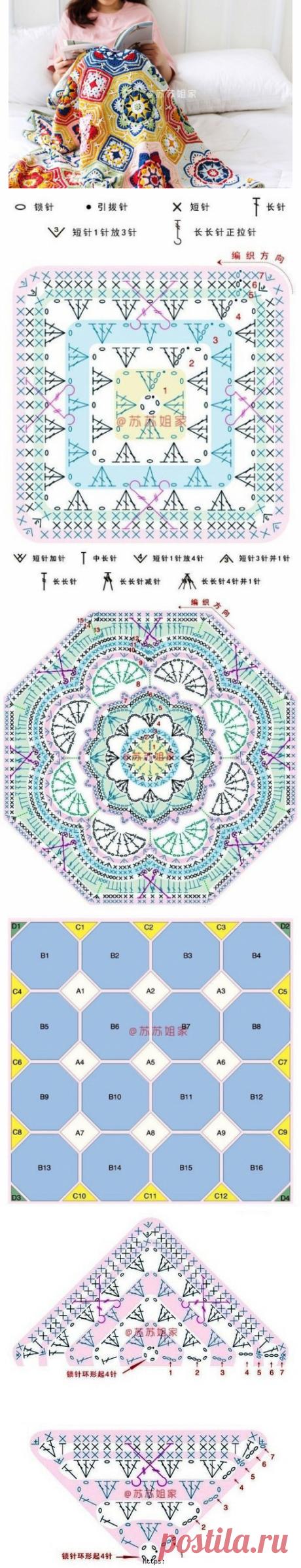 Вязаный плед из разноцветных мотивов. Схема