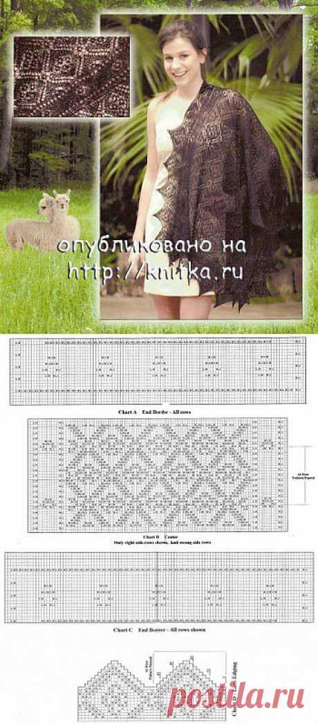 Коричневая ажурная шаль из рубрики Вязание для женщин. Вязание спицами модели и схемы на kNITKA.ru