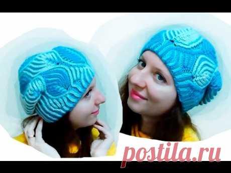 """Женская шапка """"Морозные узоры"""" Бриошь спицами. Часть 1 // Brioche Stitch // Women's hats knitting"""