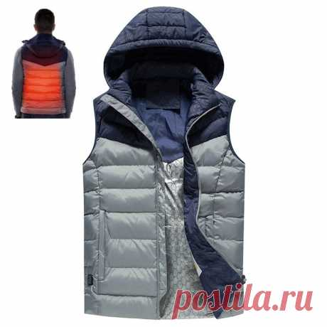 Tengoo men's electric jacket 3 modes usb charging back heating body warmer clothes lightweight washable winter thermal vest Sale - Banggood.com