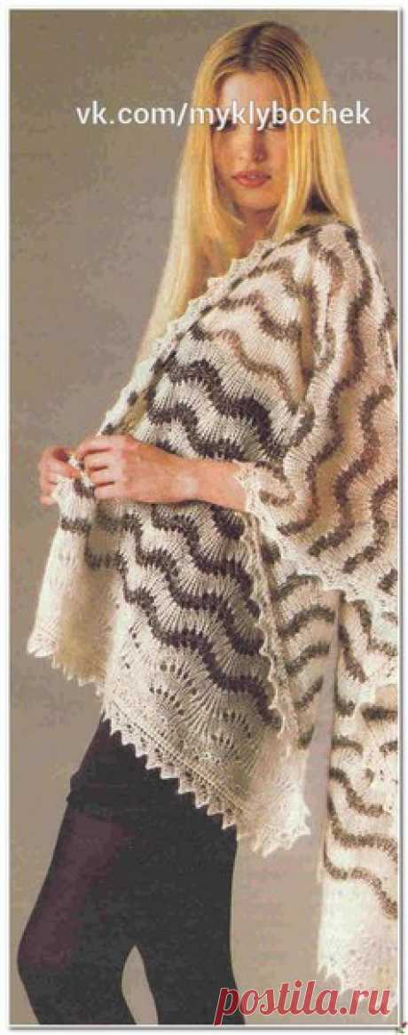 Палантин спицами #вязание #