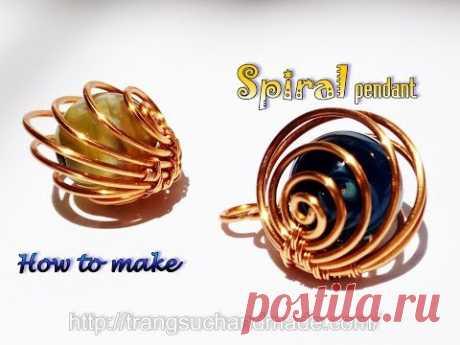 Спиральный кулон со сферическим камнем без отверстия-ювелирные изделия ручной работы из медной проволоки 404