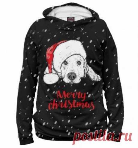Новогодний худи Собака Санта