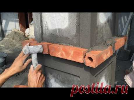 Construction Technology - Rendering Sand And Cement In To The Column Foot, Construction Daily - YouTube