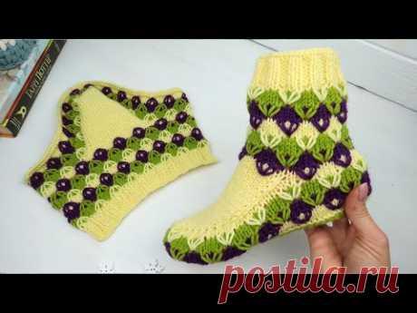 Цветные тапочки спицами с Ромбиками на 37-39р. Как вязать домашние тапочки с цельной подошвой