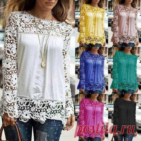 Wish | Splendid Women Lace Chiffon Blouses Long Sleeve Hollow Crochet Tops 8 Colors