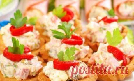 ТОП-5 САЛАТОВ В КОРЗИНКАХ   1) Куриный салат в корзинках  ИНГРЕДИЕНТЫ: Показать полностью…