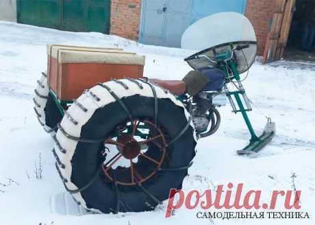 Снегоход из мотоцикла: фото и описание конструкции самоделки Самодельный снегоход-вездеход сделанный на базе мотоцикла: далее фото и описание конструкции снегохода