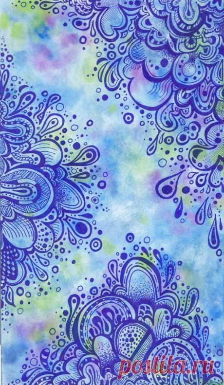 Zentangle on watercolor paper. Unable to locate...