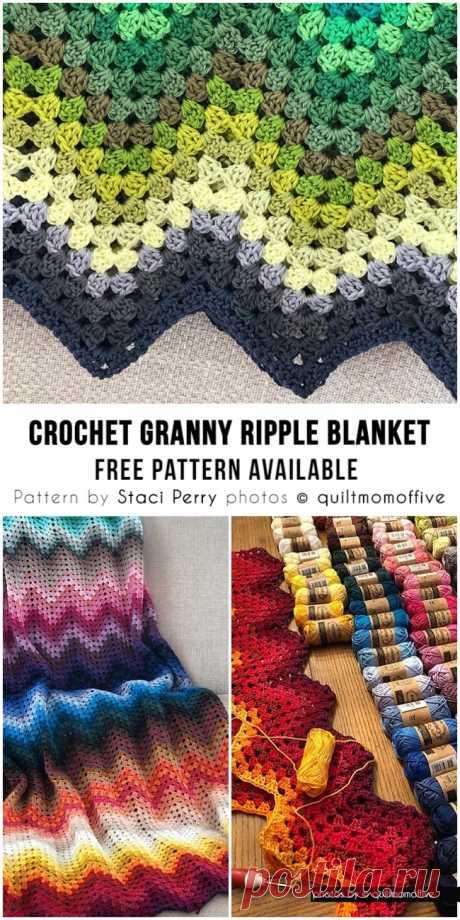 Granny Ripple Blanket - Free Crochet Pattern + Video tutorial