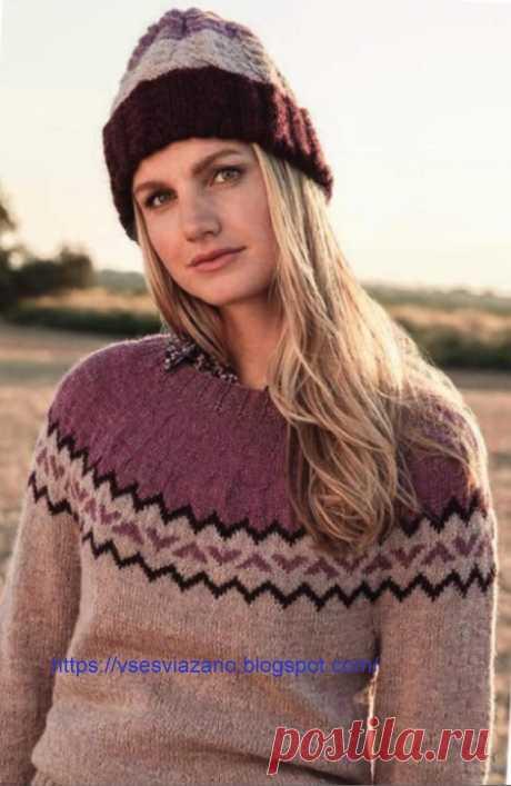 ВСЕ СВЯЗАНО. ROSOMAHA.: Зимний пуловер с норвежской кокеткой.