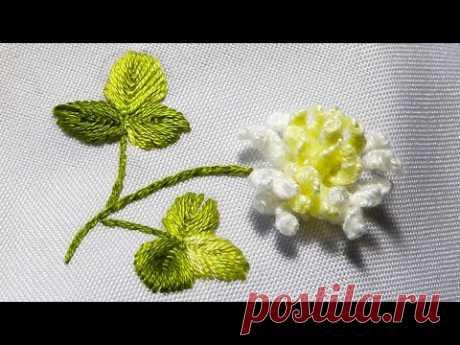 White clover flowers | 1 technique and 2 ways embroidery - YouTube