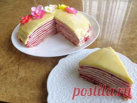 Блинный торт с клубникой и творогом / Масленица 2019