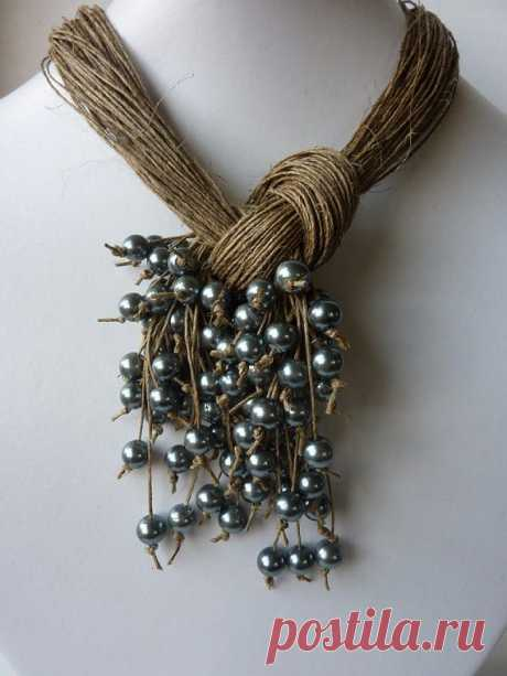 Effective beads from a twine, sizalya and other natural materials — Needlework