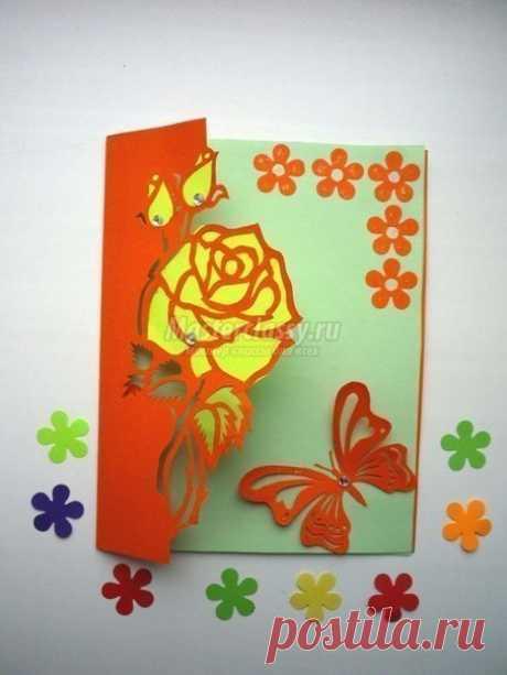 Открытка-киригами с розой. / Живой лёд глобальных вопросов