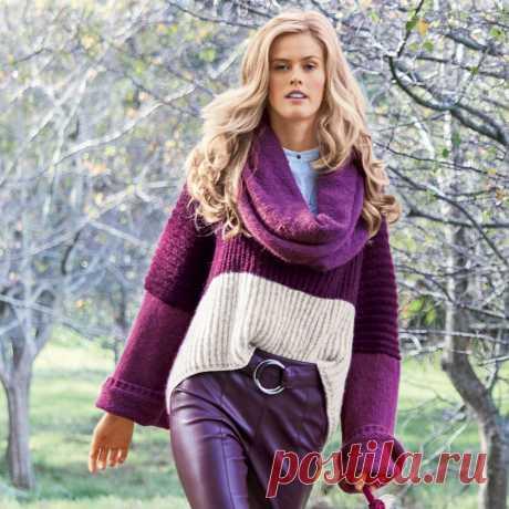 Объемный свитер с удлиненной спинкой - схема вязания спицами. Вяжем Свитеры на Verena.ru