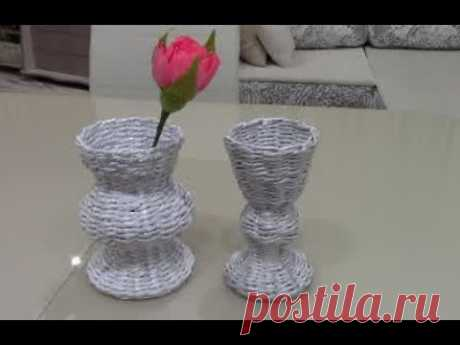 ВАЗОЧКИ для цветов из бумажных трубочек