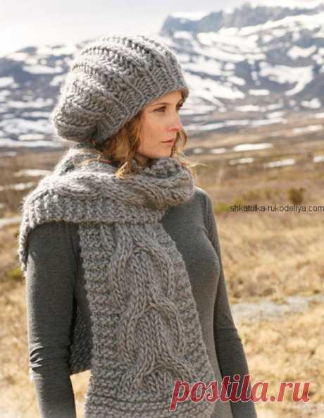 Комплект для зимы: шарф+ шапка крупной вязкой  Комплект для зимы: шарф+ шапка крупной вязкой. Женский комплект узором коса из толстой пряжи Размер шапки S/M — L Обхват головы ~ 54/56 — 58 см. Размер шарфа: 33x 180 см. Пряжа: (шерсть; 10…