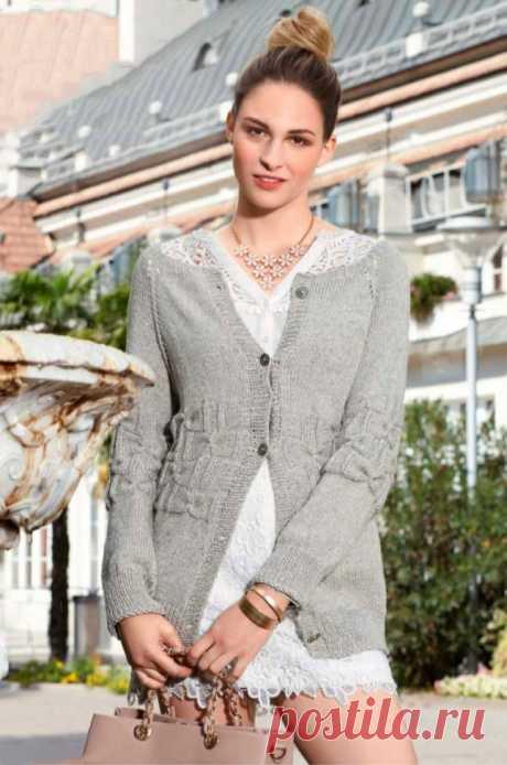 Удлиненный жакет спицами с узором Буфы - Портал рукоделия и моды