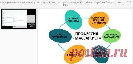 Как научиться востребованному массажу за 3 месяца и зарабатывать от 50 до 150 тысяч рублей. Секреты мастера. 12:00 МСК